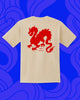 Back of white T-shirt with red dragon design