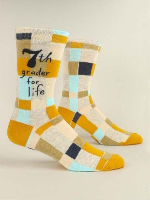 Men's Funny Socks: 7th Grader for Life
