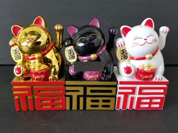 Battery Powered Hand Motion Lucky Cat on Fortune Base