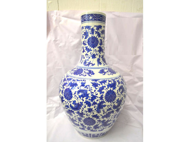 Lotus Design Blue on White Ceramic Vase