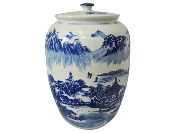 "Landscape Design Blue on White Ceramic Jar - Melon Shape 18""H"