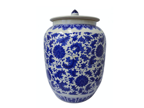 "Lotus Design Blue on White Ceramic Jar - Melon Shape (16""H)"