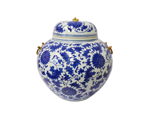 "Blue on White Ceramic Jar with Metal Holders - 14""H"