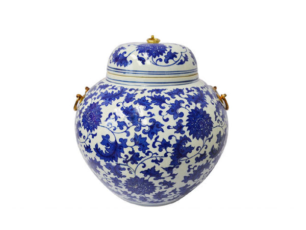 Blue on White Ceramic Jar with Metal Holders