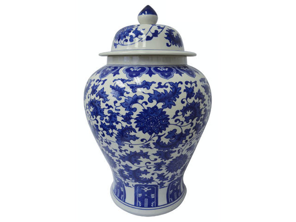 Lotus Design Blue on White Ceramic Temple Jar