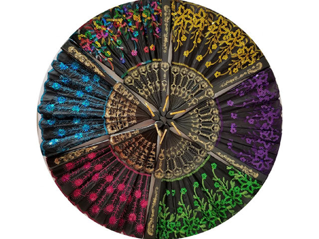 Color Sequins Fabric Fan - 9 in. Black Frame