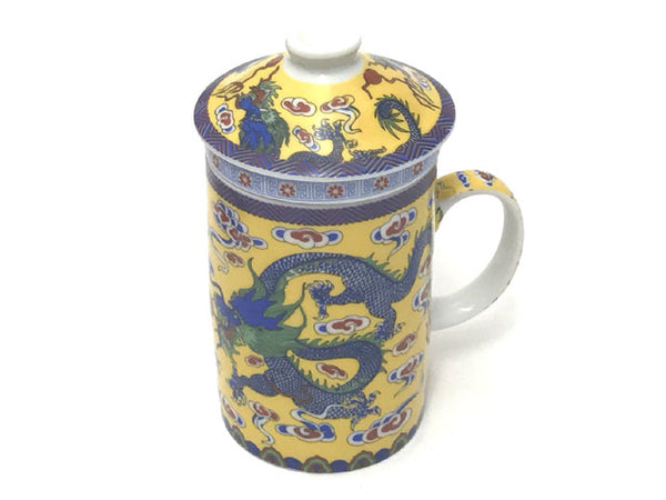Dragon on Cloud Designs Mug with Infuser - Yellow