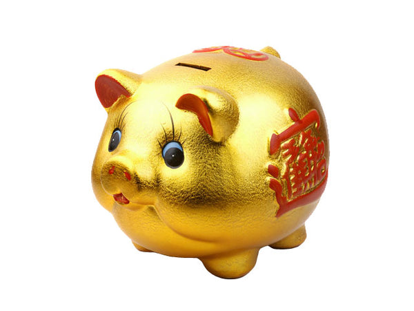 Large Ceramic Golden Piggy Bank