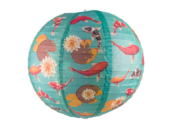 Koi Fish Pond Print Paper Lantern - 14 in.