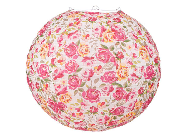 Liberty Floral Fuchsia Rose Print Paper Lantern - 14 in.