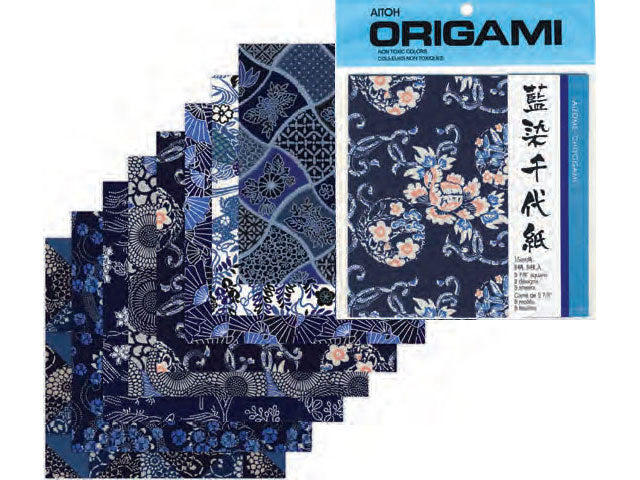 "Aizome Chiyogami - Indigo Floral  Pattern Origami Paper - 6"" x 6"""