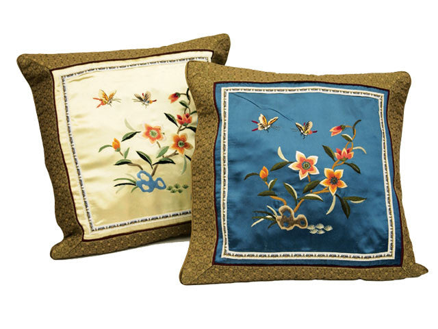 Classic Design Hand-Embroidered Silk Cushion Case