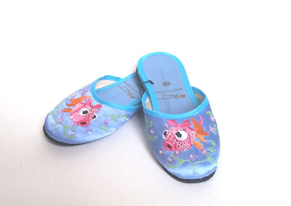 Goldfish Embroidered Design Slippers - For Children