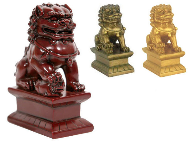 Resin Foo-Lion Statue Pair Set