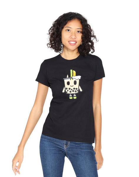 black tee with boba print