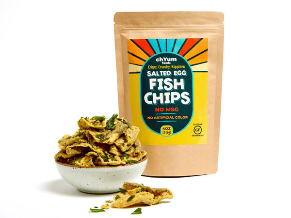 Salted egg fish chips bag with bowl of chips