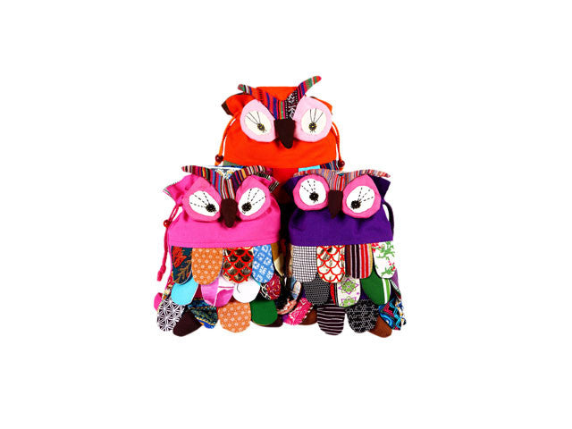 Owl Design Patchwork Backpack for Kids