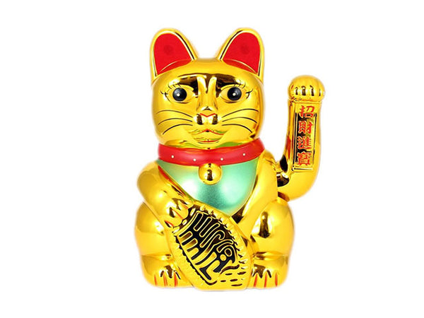 AC/DC Hand Motioned Lucky Cat - Gold
