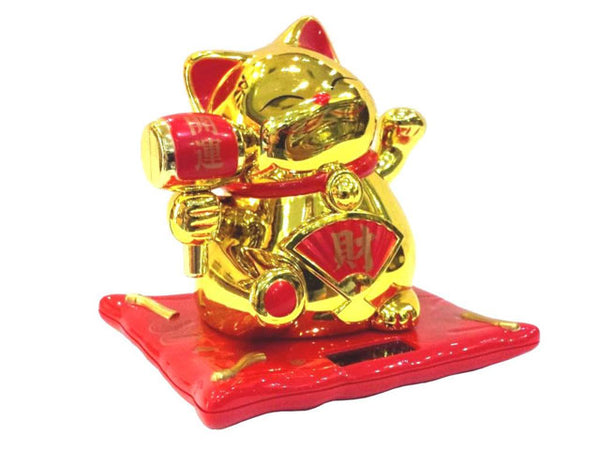 "Solar Powered Hand Waiving Motion Lucky Cat w. Lucky Drum on Red Mat (3.5"")"