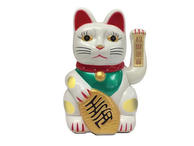 AC/DC Hand Motioned Lucky Cat - White