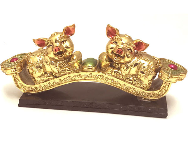 Golden Lucky Pigs on Stand