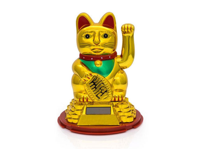 "Solar Powered Hand Motion Lucky Cat on Gold Coin Pyramid - 6""H"