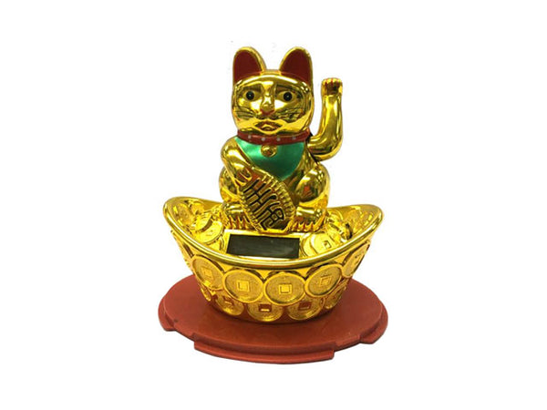 Solar Powered Hand Motion Lucky Cat on Ingot / Red Tray