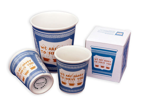 "Ceramic ""We are happy to serve you"" coffee cups"