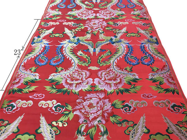 Colorful Double Phoenix Peony Brocade Fabric