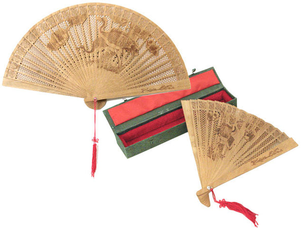 Premium Scented Wooden Fan W. Printed Design