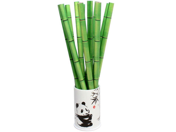 Bamboo Print Pencils with Panda Holder