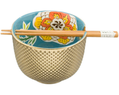 Metallic Ceramic Bowl with Chopsticks
