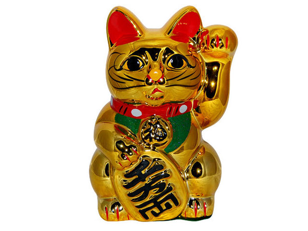 Gold Lucky Cat Coin Bank (Maneki-Neko Welcoming Cat)