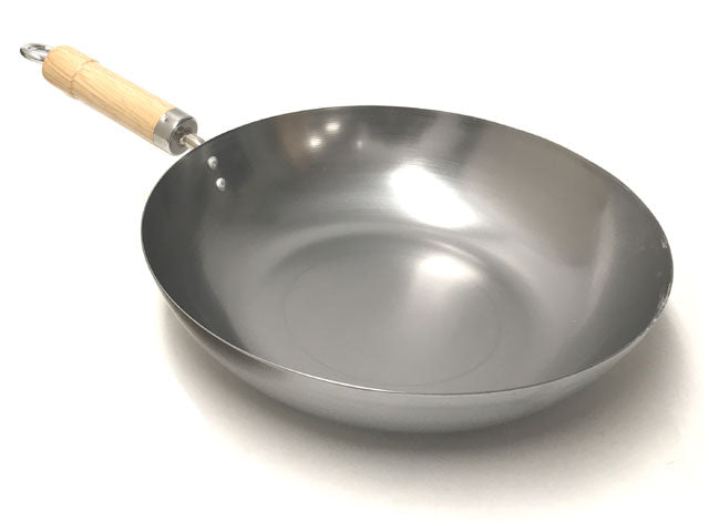 Carbon Steel Flat Bottom Shallow Wok - 12""