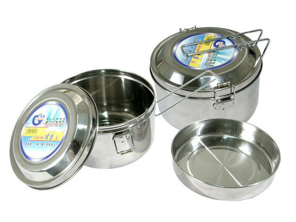 Round Stainless Steel Lunch Box - With Dish