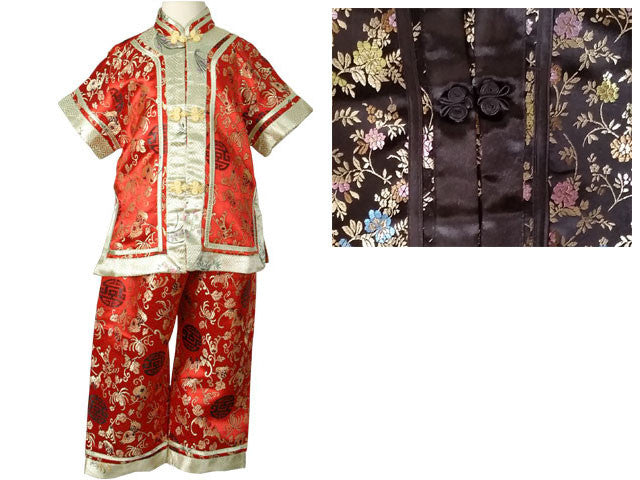 Girls Short Sleeves Floral Brocade Rayon Outfit