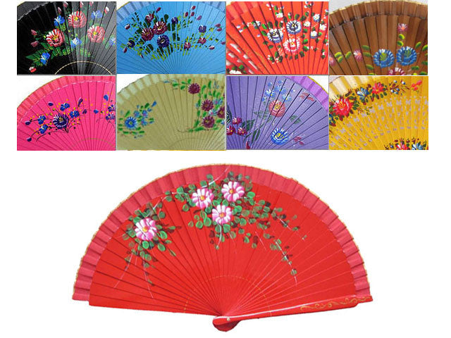 Painted Floral Wooden Hand Fan
