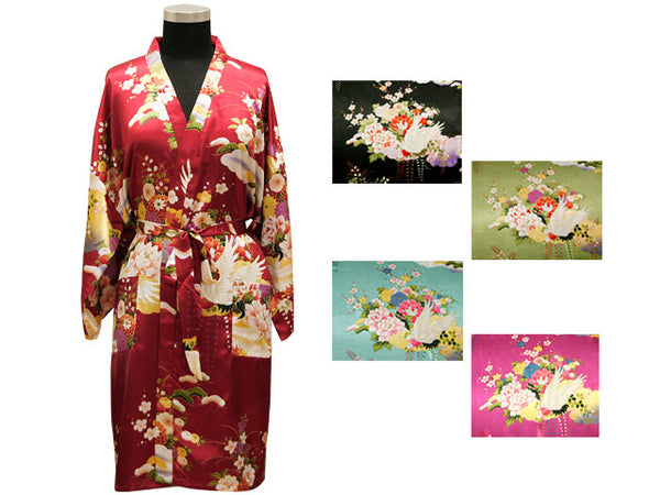 Crane Floral Robe - Thigh Length