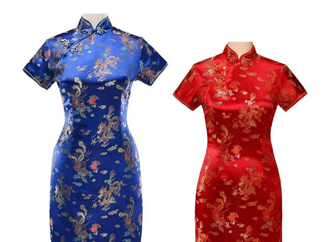 Short Sleeves Ankle Length Mandarin Dress - Dragon Phoenix