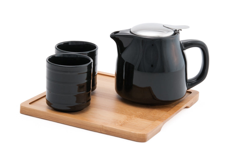Ceramic Tea Set w. Strainer & Bamboo Tray