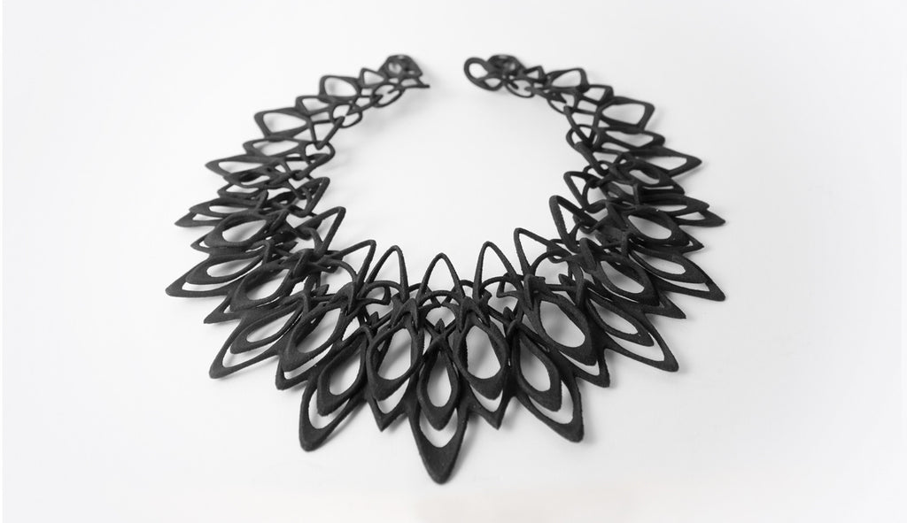 Jenny Wu Lace Stria Black Necklace