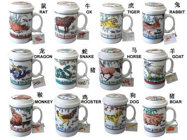 Twelve tea mug with infusers each donning a Chinese zodiac animal