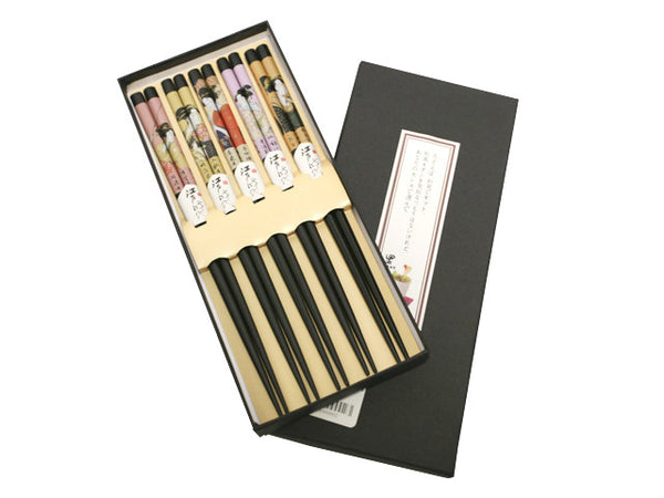 Japanese Lady Design  Chopsticks Set  (5 pairs)