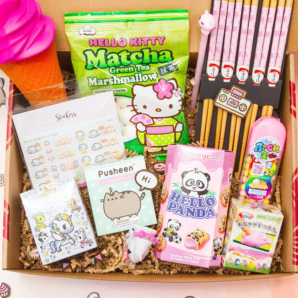 A box full of kawaii items, like a squishy ice cream cone, Hello Kitty marshmallow candy, pink chopsticks, surprise toy boxes, a magnet kit, and more