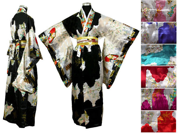 Elegant, ornate black Japanese robe with long sleeves inspired by traditional kimonos