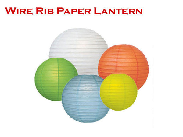 "A bundle of colorful, illuminating circular lanterns with text, ""wire rib paper lantern"""