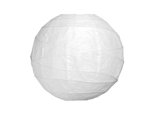 White paper lantern with modern swirl ribbing