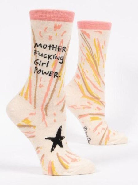"Cream women's socks with yellow and pink star design and text, ""motherfucking girl power"""