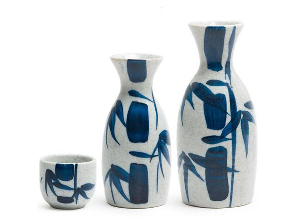 "Sake Cup: 2"" diam. x 1-5/8""h. 1.75 oz. capacity. Small Sake Bottle: 2-1/4"" diam. x 5""h. 5 oz. capacity. Large Sake Bottle: 2-7/8"" diam. x 6-1/4""h. 10 oz. capacity. Ceramic. Dishwasher/microwave safe. Made in Japan."