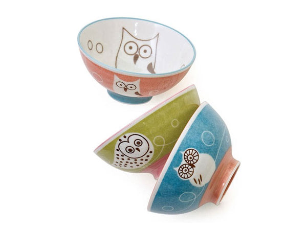 Owl Design Children's Rice Bowl Set